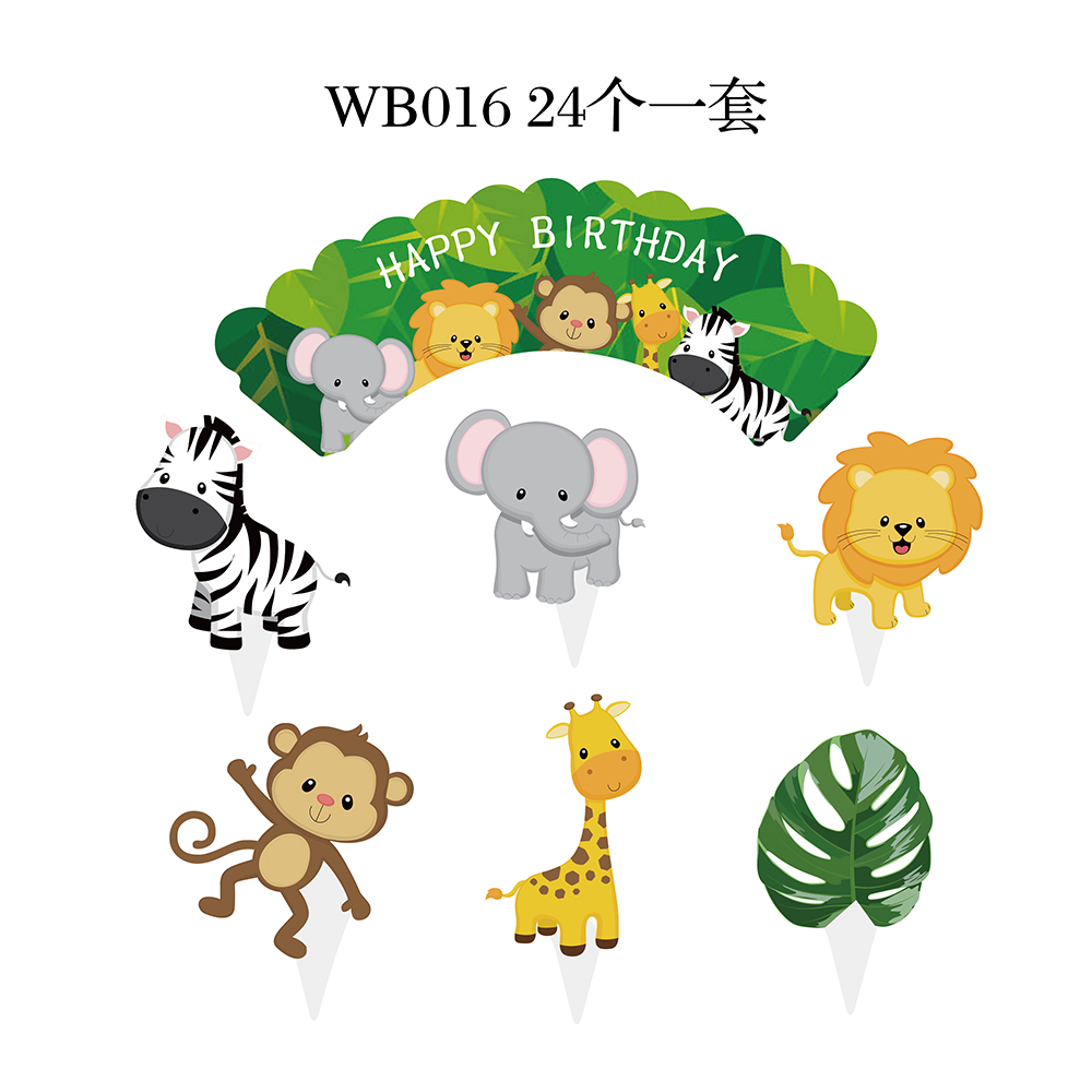 WB016-1 Jungle animale Toppers Cupcake Wrapper cake toppers per i bambini