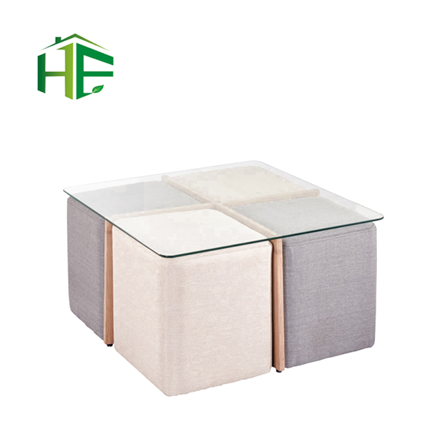 Bazhou Modern Furniture Save E Small House Room 8mm Thick Tempered Gl Square Coffee Table Chairs Set Tea And