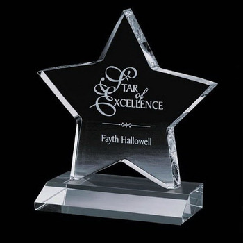 Custom Laser Engraved Star Shaped Clear Acrylic Award with base