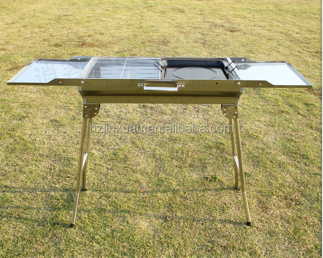 WN81001 In stock fast ship big size small quantity available foldable stainless steel charcoal barbecue bbq grill s.s bbq grill