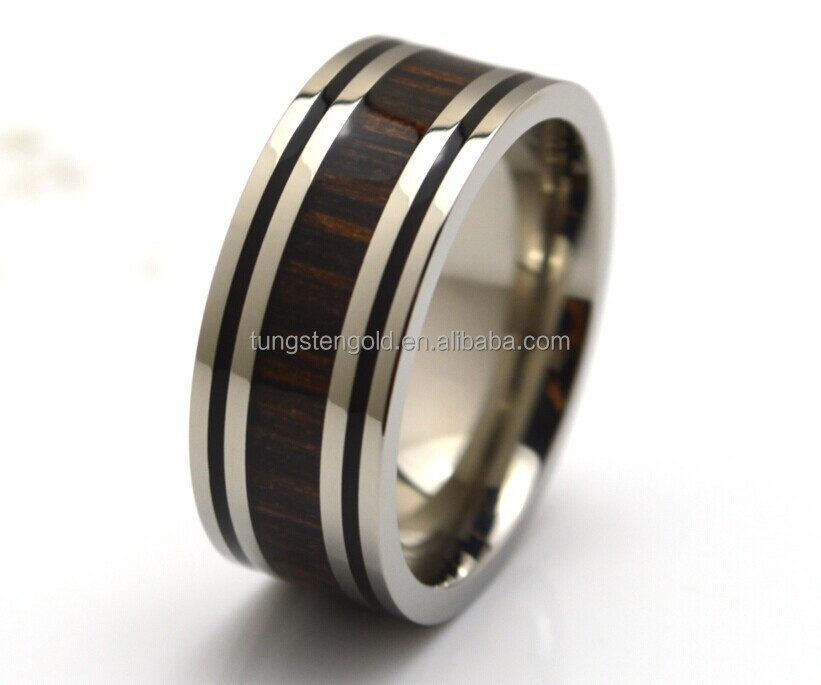 Wood Rings Mens Jewelry,100% Hypoallergenic Black Enamel Border Black  Sandal Wood Inlaid Titanium