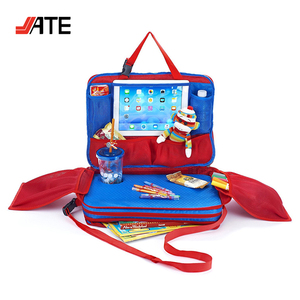 Multi-Compartments Travel Tray Bag and Organizer, Children Travel Tray for Car Backseat