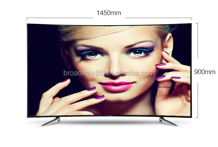 65 inch 3840*2160P 4K UHD Super Slim Explosion-proof Curved LED TV with 4G memory, Android 4.4, support WIFI ,4 Qwad Core