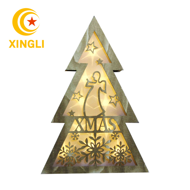 New Product Wooden Christmas Tree Wood Frame Box Led Light