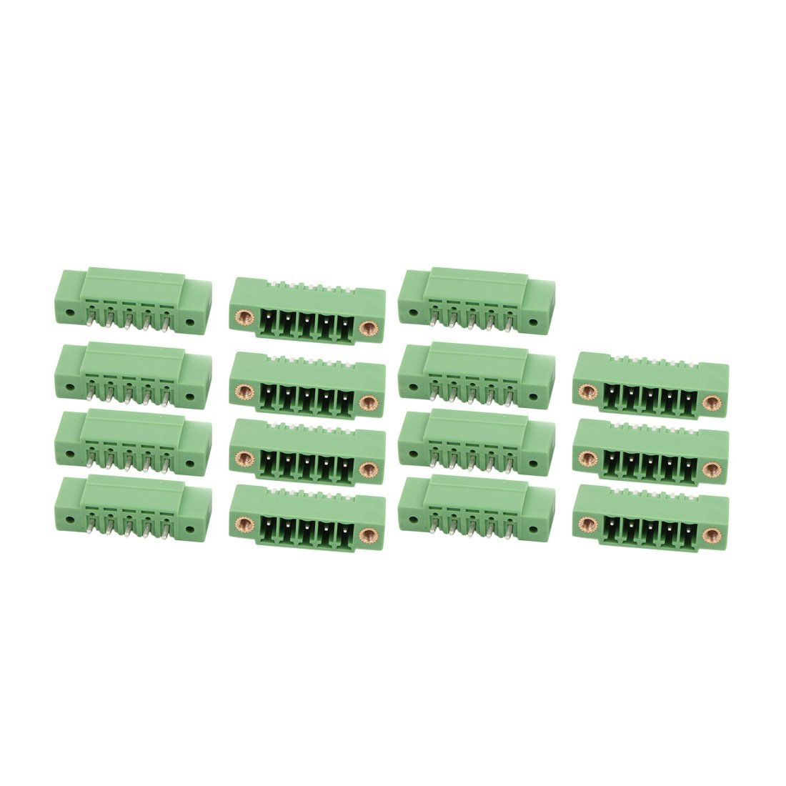 uxcell 15 Pcs LZ1VM AC300V 8A 3.5mm Pitch 5P PCB Mount Terminal Block Wire Connector