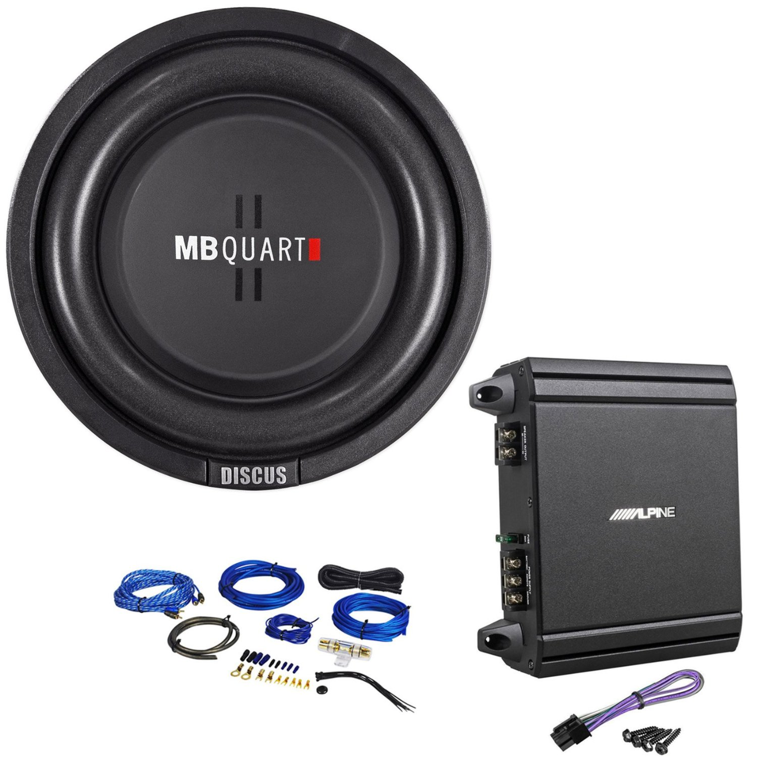 "Package: MB Quart DS1-204 8"" Shallow Mount 400 Watt Peak/200 Watt RMS Dual 4-Ohm Car/Truck Subwoofer + Alpine V-Power MRV-M250 250 Watt Mono Class D Car Amplifier + Rockville RWK81 8 Gauge 2 Channel Complete Wire Kit with RCA Cable"