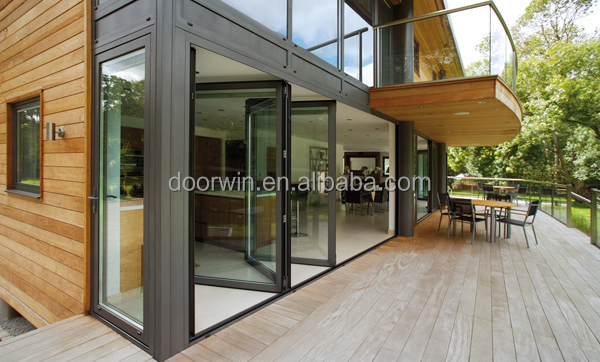 Tempered double glazing aluminum balcony glass external sliding folding and bi fold door