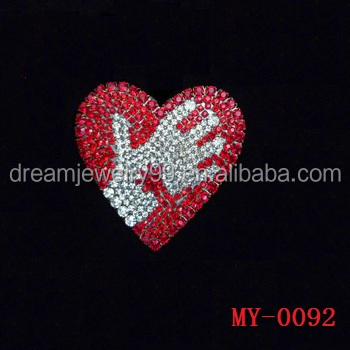 Red Heart Brooch Fashion Rhinestone Corsage Epoxy Brooches Fashion ...