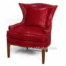 Red Leather Wing Chair Supplieranufacturers At Alibaba Com