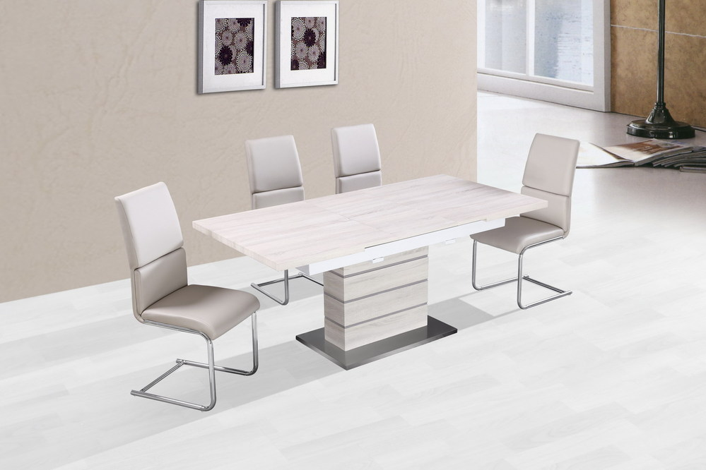 Hotel stylish modern i shape extensible wood grain and for Table metal extensible