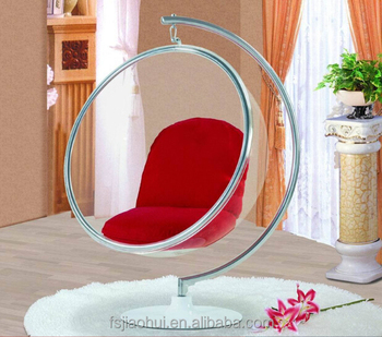 JH 200 Classical Coffee Shop Acrylic Clear Hanging Bubble Chair With Stand