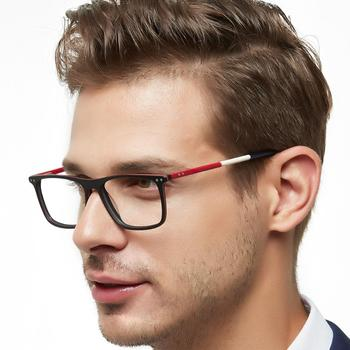 Fashion Brand Men Patchwork Novel Design Rectangle Eye Glasses Clear Lens Optical Frames Spectacles