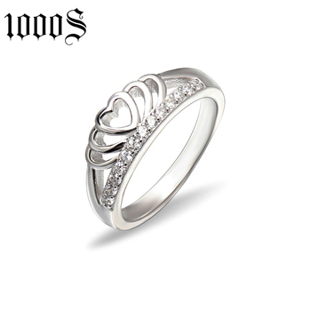 fashion 925 sterling silver love crown ring for anniversary