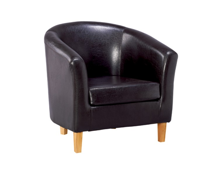 Tub Chair Home Furniture, Recliner Living Room Chairs Accent Chair Leather  Cover, Wooden Frame