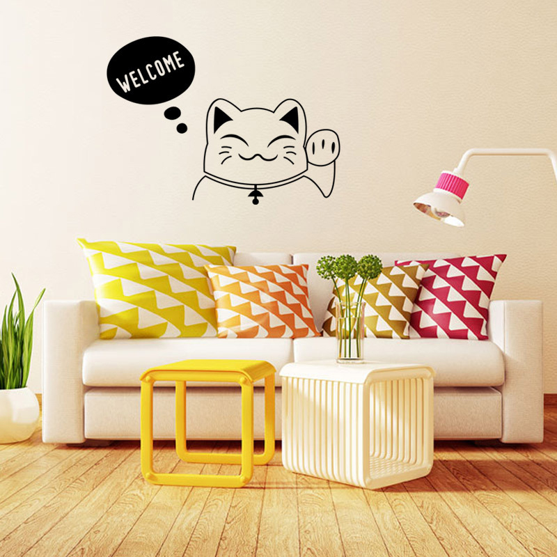 Fashion The Cute Cat Home Decor Creative Wall Stickers Parede PVC Removable Decorative Home Decals Adesivo Wallpapers K002