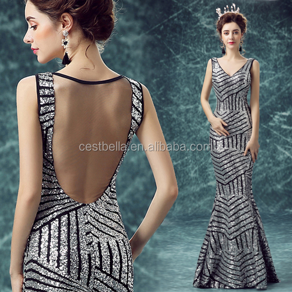 Chic Stylish Maxi Open Backless Woman Silver New Arrival Evening Gown 2016 Long Mermaid Evening Dress Silver