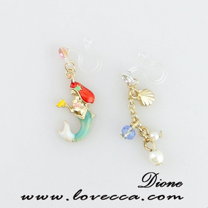 Europe mediterranean under the sea world shell, pearl, mermaid charms earring with colored crystal