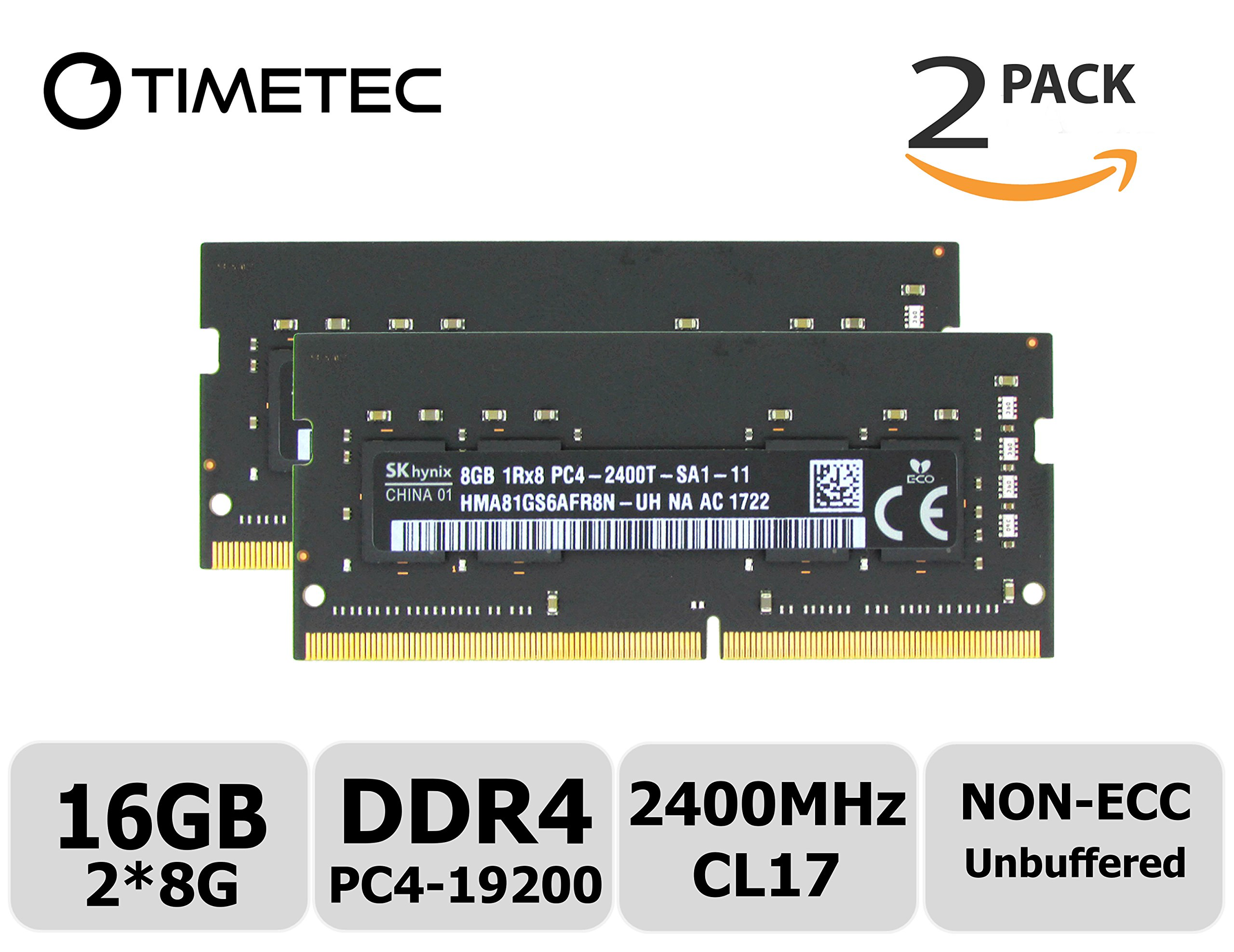 16GB Timetec Hynix IC 16GB DDR4 2400MHz PC4-19200 Non ECC Unbuffered 1.2V CL17 2Rx8 Dual Rank 260 Pin SODIMM Laptop Notebook Computer Memory Ram Module Upgrade