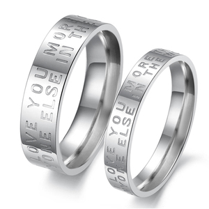 Fashion Cheap Stainless Steel Letter Engraved Couple Ring Free Shipping