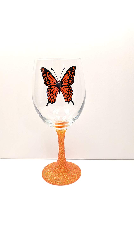 Monarch Butterfly Glitter Stem Wine Glass | Butterfly Wine Glass | Butterfly Gift |Friend Gift | Monarch Gift