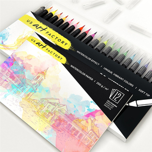 12 Colors Watercolor Brush Pen Art Markers Non-Toxic Water Based Marker Pen for Coloring Writing Sketching