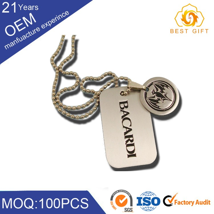 Custom shape dog tag, aluminum / zinc / gold alloy / with fancy logoball chain