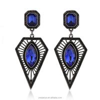 Gold Earrings 2015 New Design Black Diamond Dangle Earring