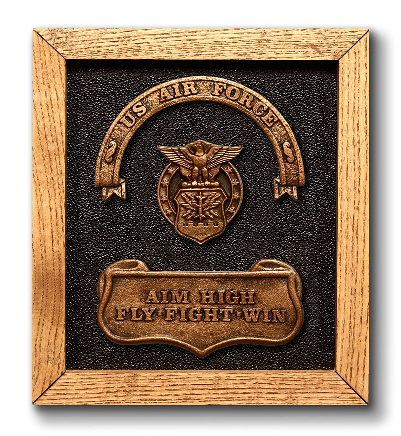 US Air Force Plaque - includes official United States Air Force badge & motto. Magnificent handmade military present or gift - Birthday / Fathers Day / Christmas etc