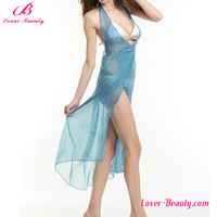 Cheap transparent long light blue beach cover up for ladies