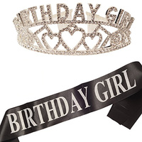Fashionable Birthday Girl silver crown BLACK Satin Sash Birthday Girl with white Lettering