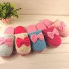 Colourful boa plush girls' indoor slippers