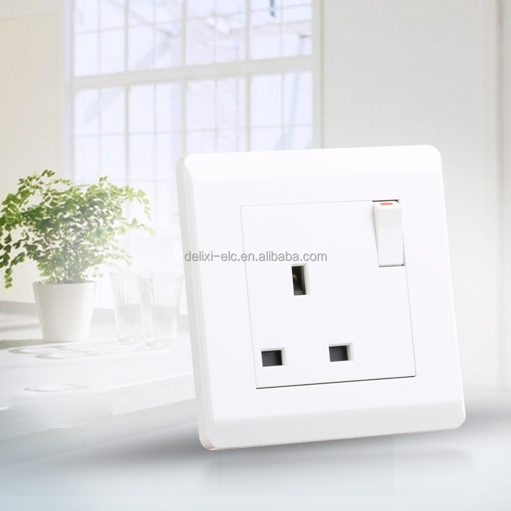 86*86mm 13A Light Electrical Wall Switch Socket UK Type