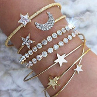 SWTR1564 4 Pcs/set Punk Retro Simple Moon Star Heart Crystal Bracelet For Women Party Jewelry Accessories