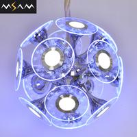 Modern hotel lighting rainbow chandelier fabric shade round pendant lamp