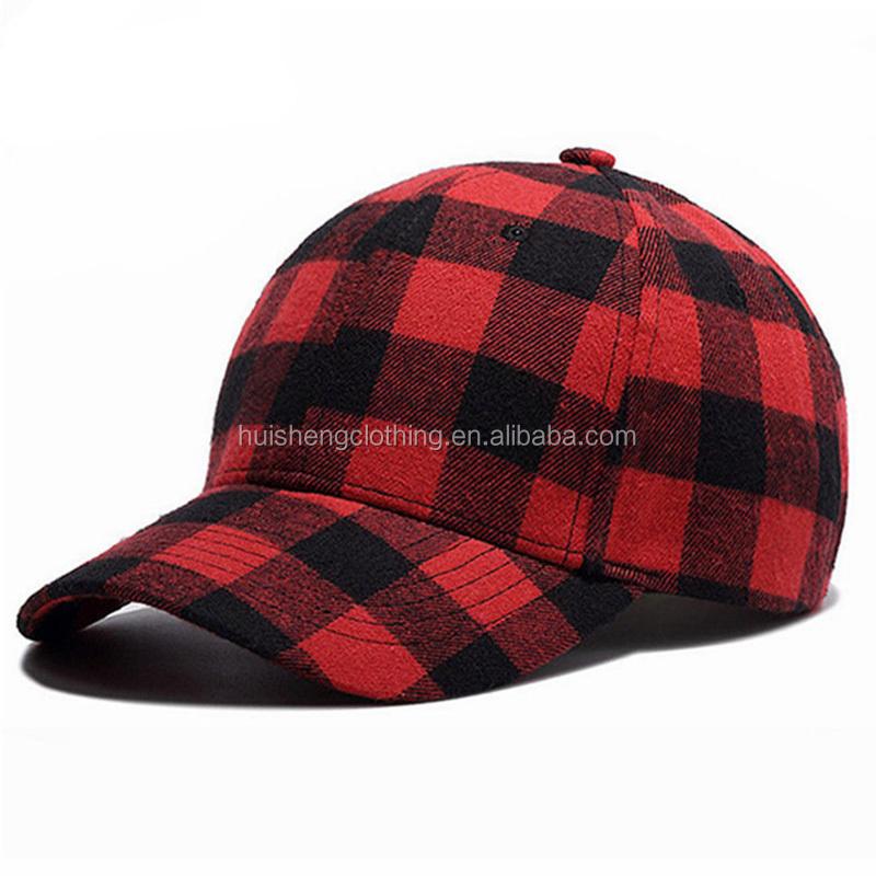 1a56558e3e9 New European Style Plain Red Black Check Plaid Baseball Cap Dad Hat ...
