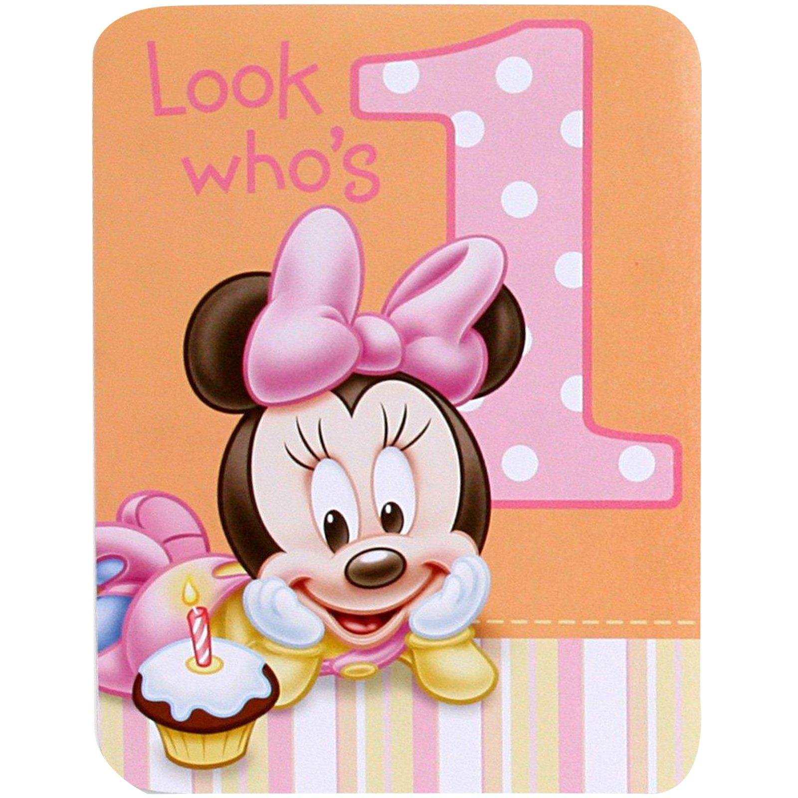Get Quotations Baby Minnie Mouse 1st Birthday Invitations 8 Pkg Disney Invites Party