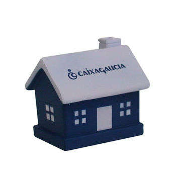 Printed House shape PU anti stress ball for promotions