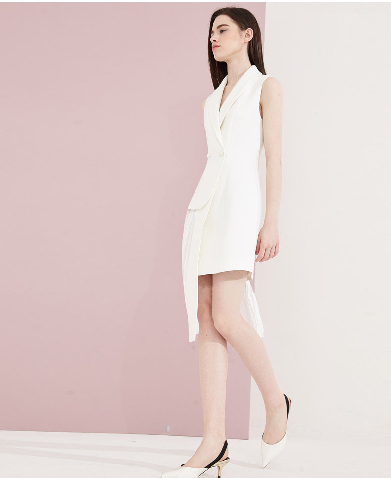Apparel Woman Pleated Jacket Dress in White Color
