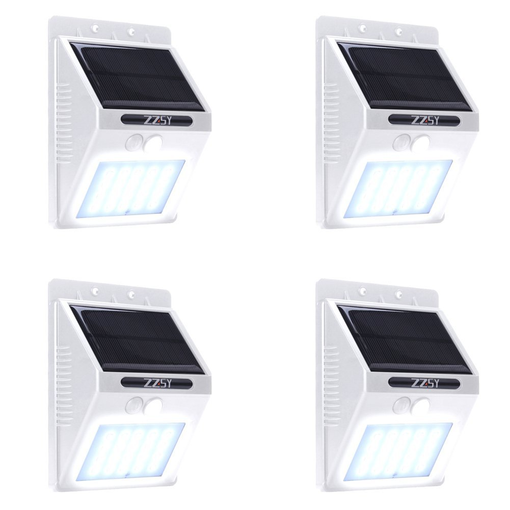 [UPDATED VERSION] 3 Modes Solar Light,ZZSY 20 LED Solar Powered Motion Sensor Light,Wireless Waterproof Outdoor Security Light for Driveway,Yard,Wall with Motion Activated Auto On/Off White 4 Pack