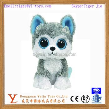Realistic Stuffed Animal Toys Mini Plush Cute Wolf Toy With Big Eyes