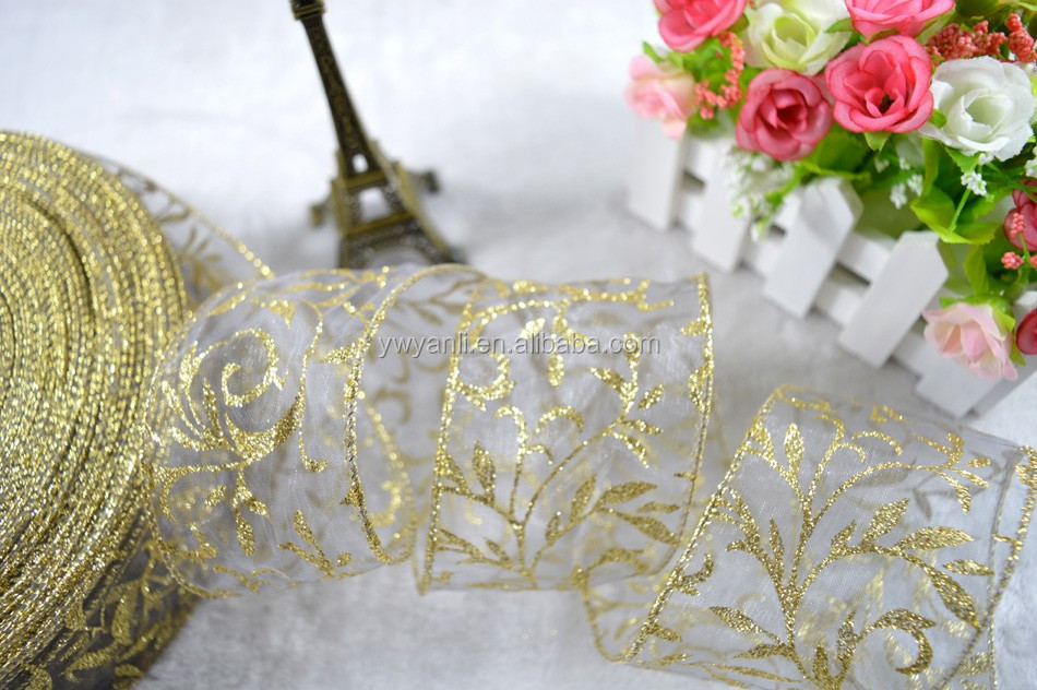 Hot sale floral pattern flocked glitter ribbon christmas ribbon decoration