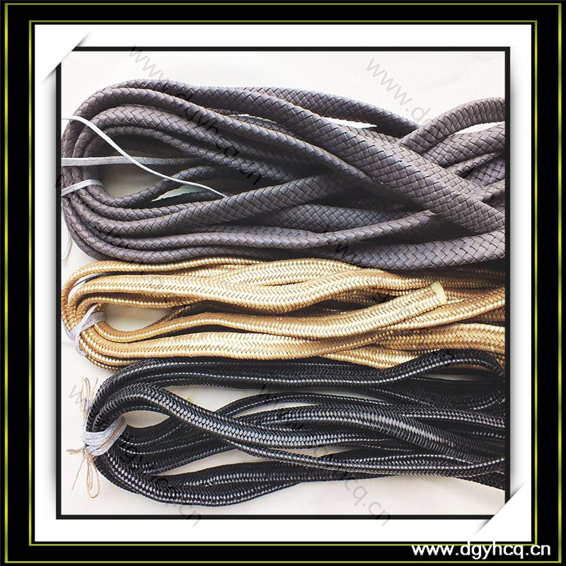 10mm flat weave braided leather cord for handbag