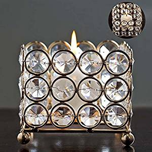 "Gold Illuminating Square Votive Tealight Wedding Crystal Candle Holder - 3.25"" W x 3.25"" L x 2.5"" H"