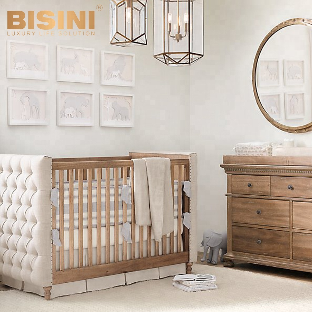 Bisini American Style Luxury Baby Crib New Born Wooden And Fabric Bf07 70246
