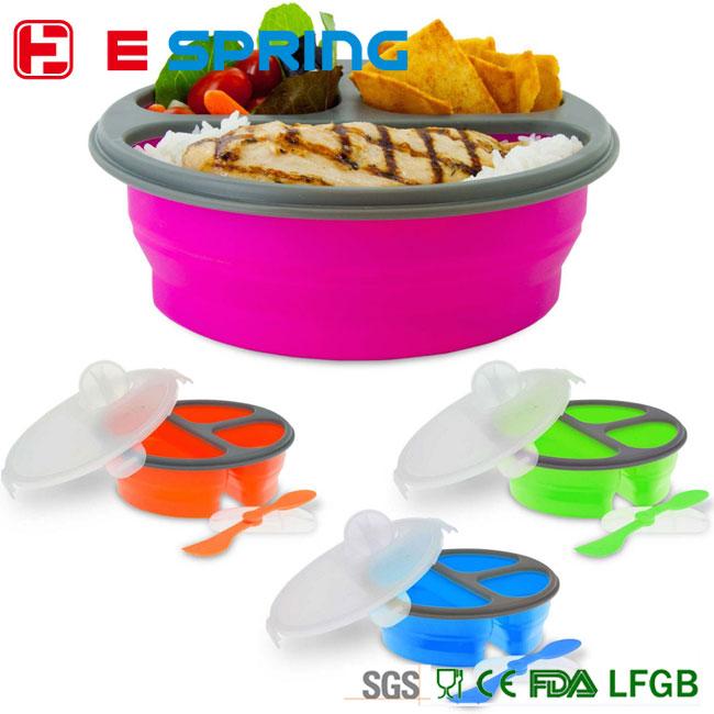 Eco de silicona lonchera plegable contenedor de comida de microondas envase de alimento cajas y - Silicona para microondas ...
