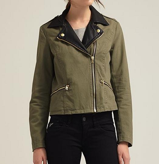 3332f16bee4c1 nouvelle mode collier en cuir femme vert olive veste militaire ...