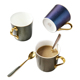 European Coffee Cup Mug Creative Star Gold Plated Ceramic Cup Couple Gift Office Cup