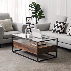 White High Gloss Glass Cocktail Table / Rectangle Coffee Table With Glass Top