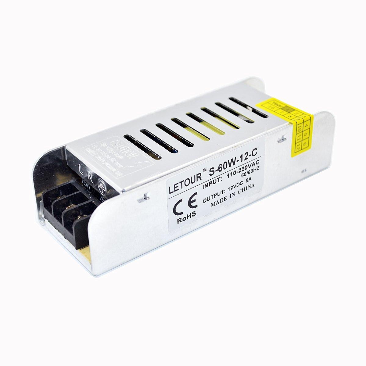 Letour New Size LED Power Supply 12V 5A AC 96V-240V Converter Adapter DC S-60W-12-C Power Supply for LED Lighting,LED Strip,CCTV
