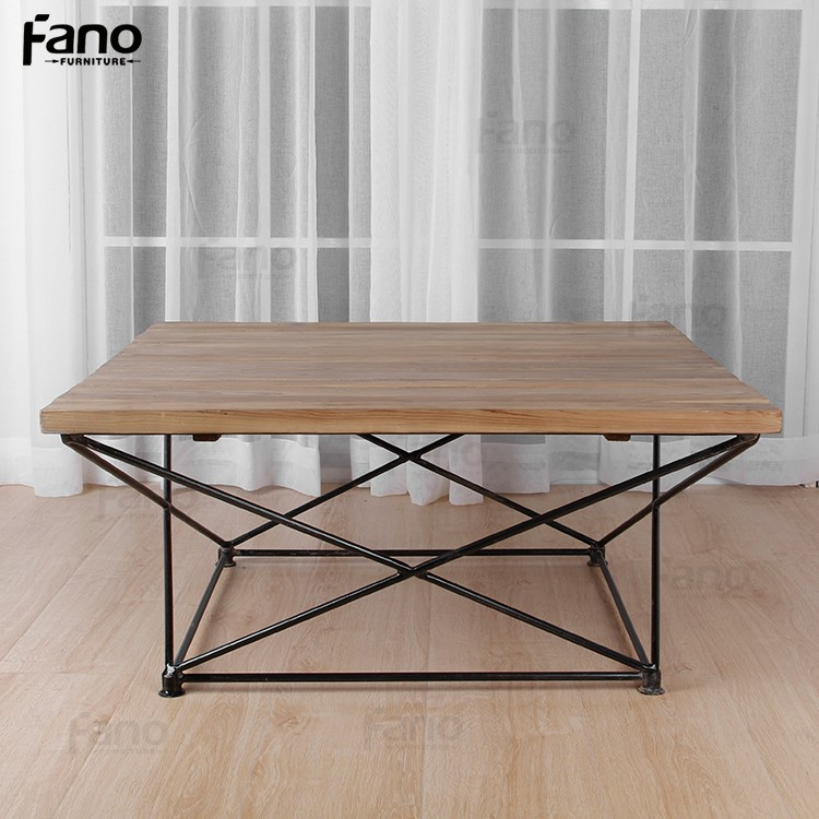 Home Goods Coffee Table Italian Design Iron Wooden Geometric Coffee Table